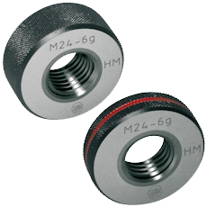 Thread ring gauges (GO or NO-GO) 6g for ISO metric threads ISO 1502 (DIN 13) made of tungsten carbide,